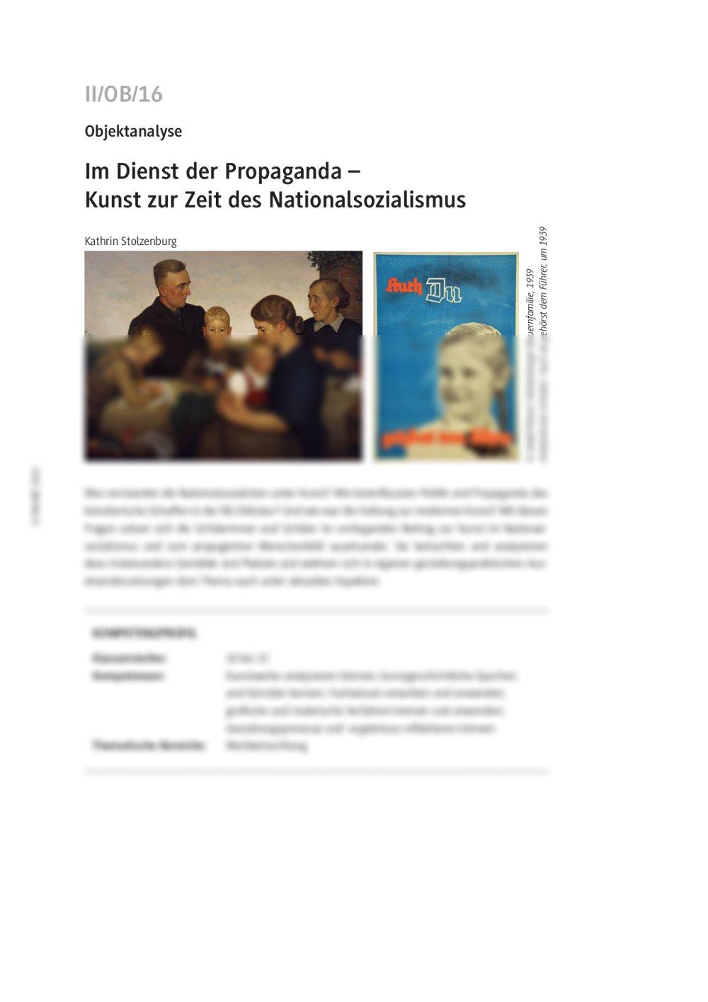 Kunst zur Zeit des Nationalsozialismus - Seite 1