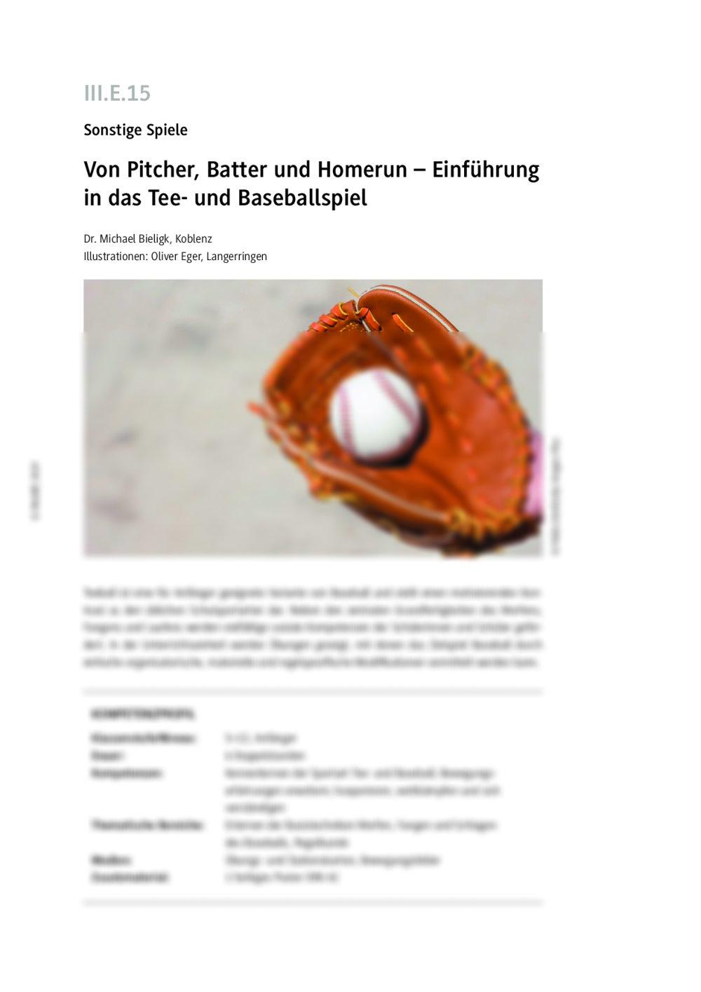 Einführung in das Baseballspiel - Seite 1