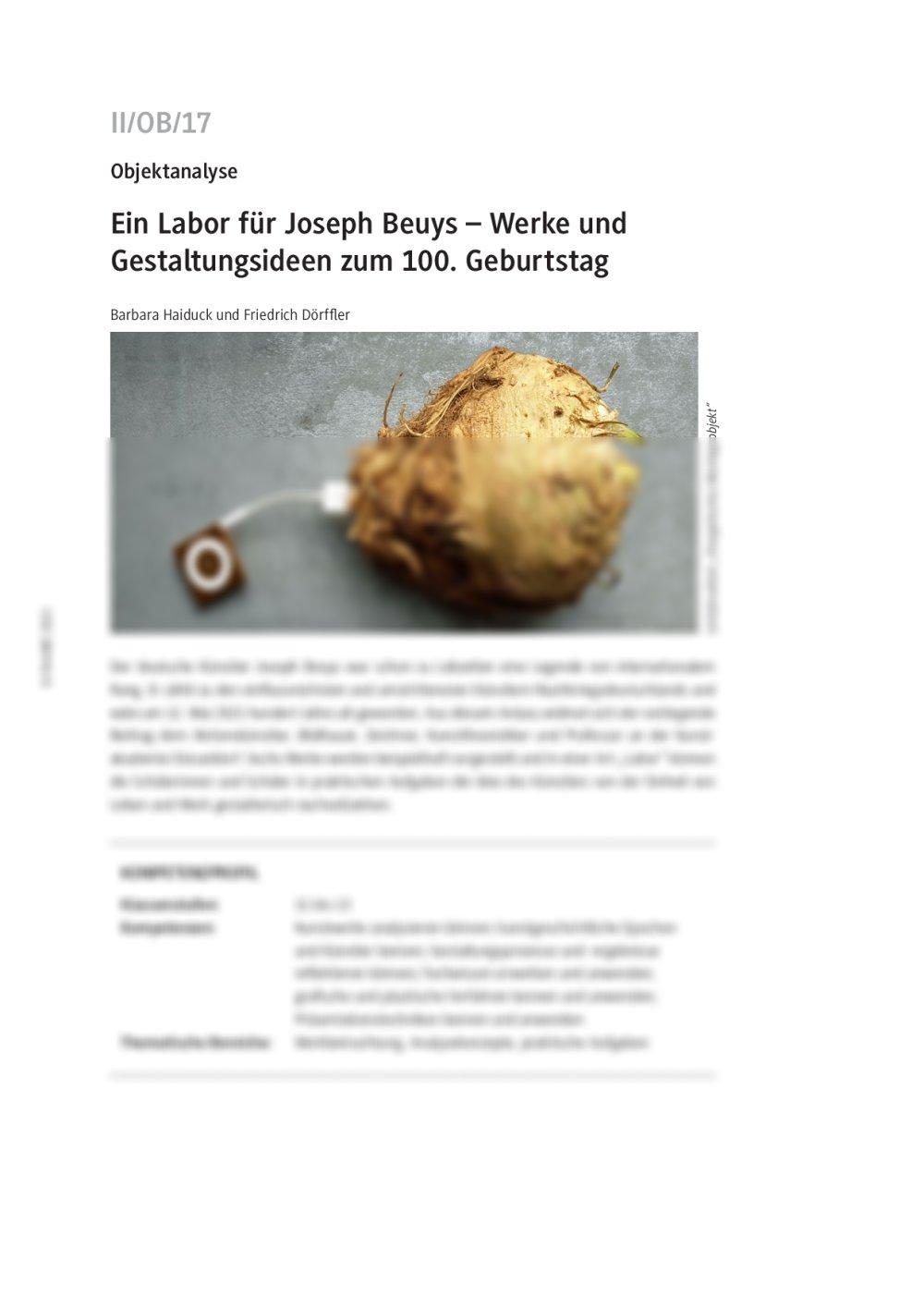 Ein Labor für Joseph Beuys - Seite 1