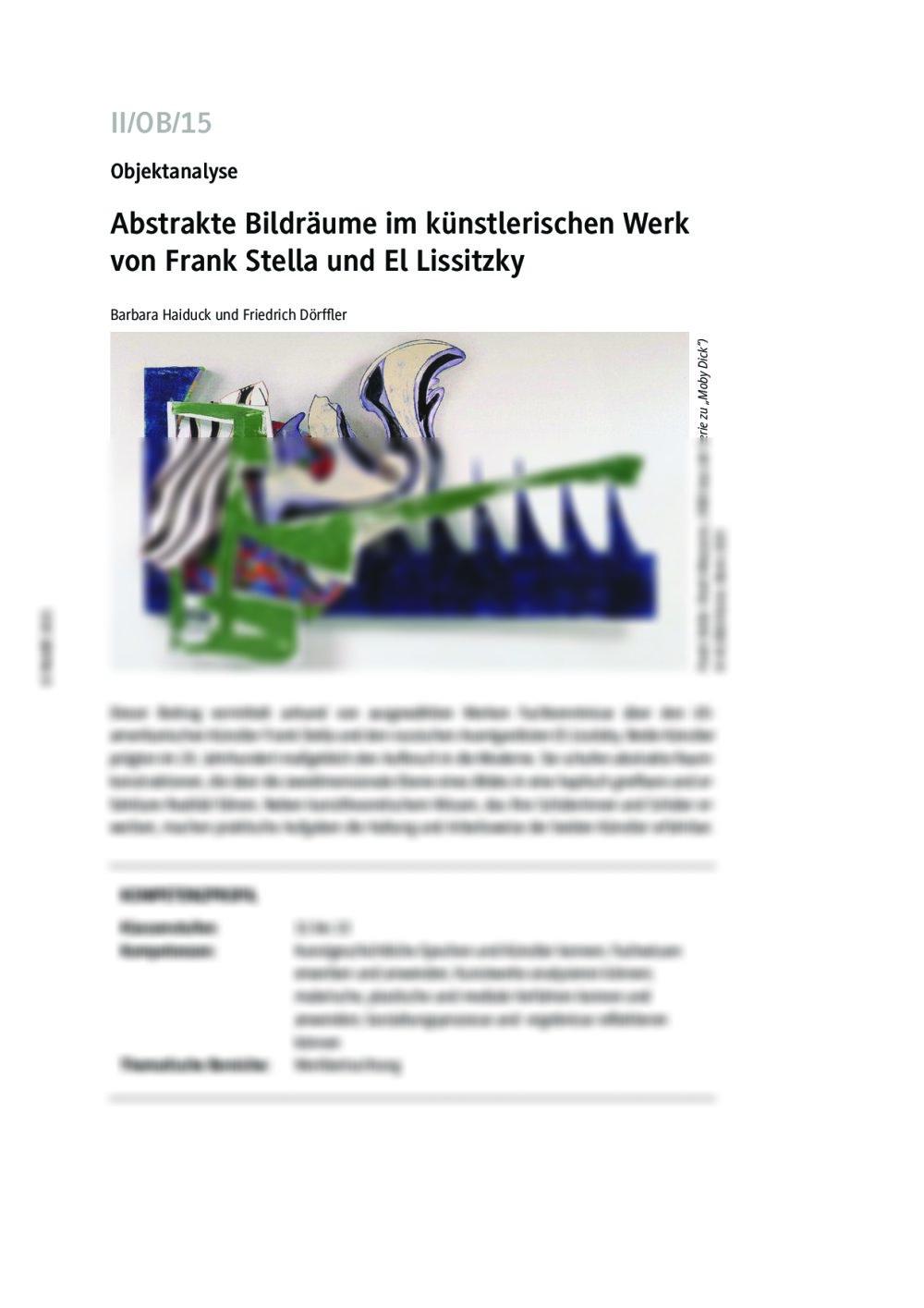 Abstrakte Bildräume im künstlerischen Werk von Frank Stella und El Lissitzky - Seite 1