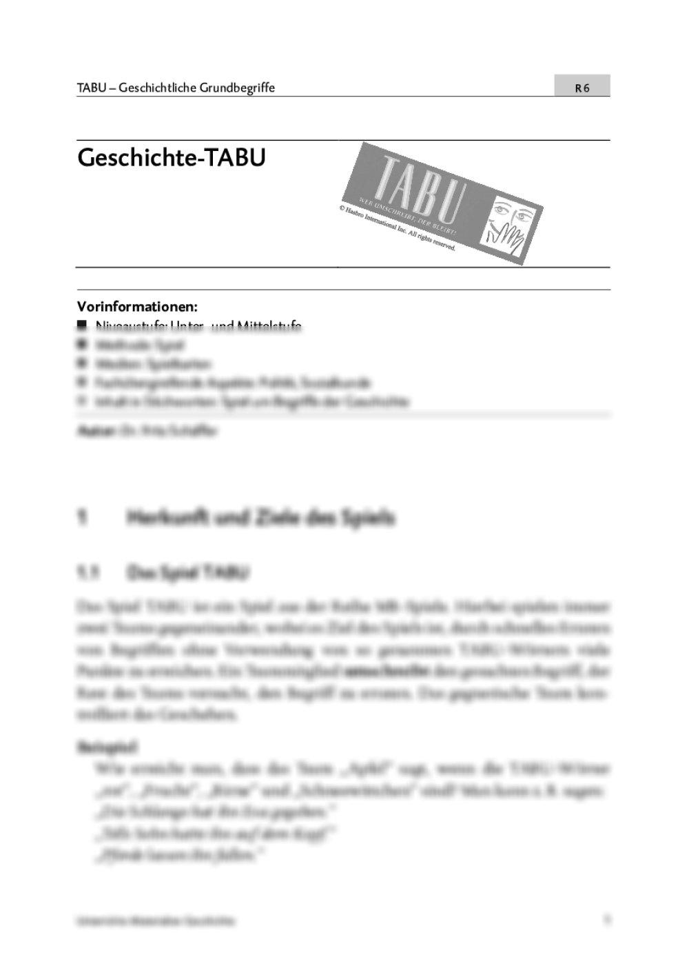 Tabu Geschichte - Seite 1