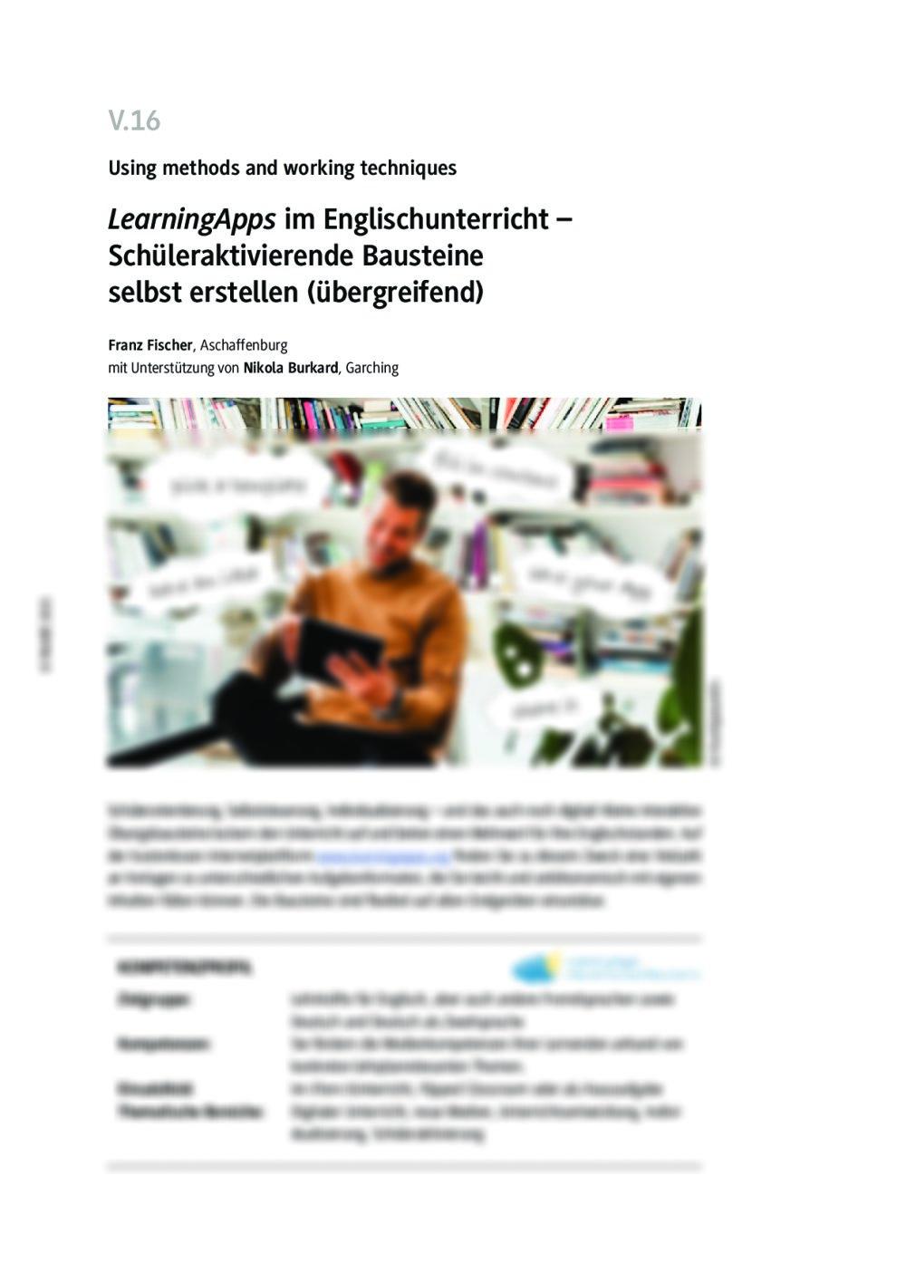 """""""LearningApps"""" im Englischunterricht - Seite 1"""