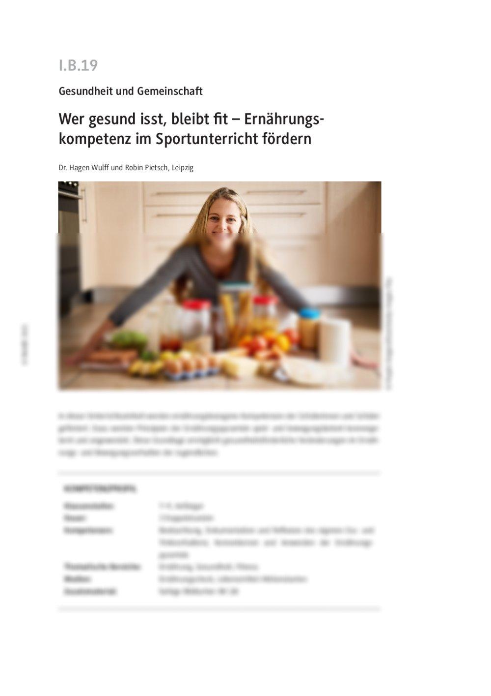 Ernährungskompetenz im Sportunterricht fördern - Seite 1