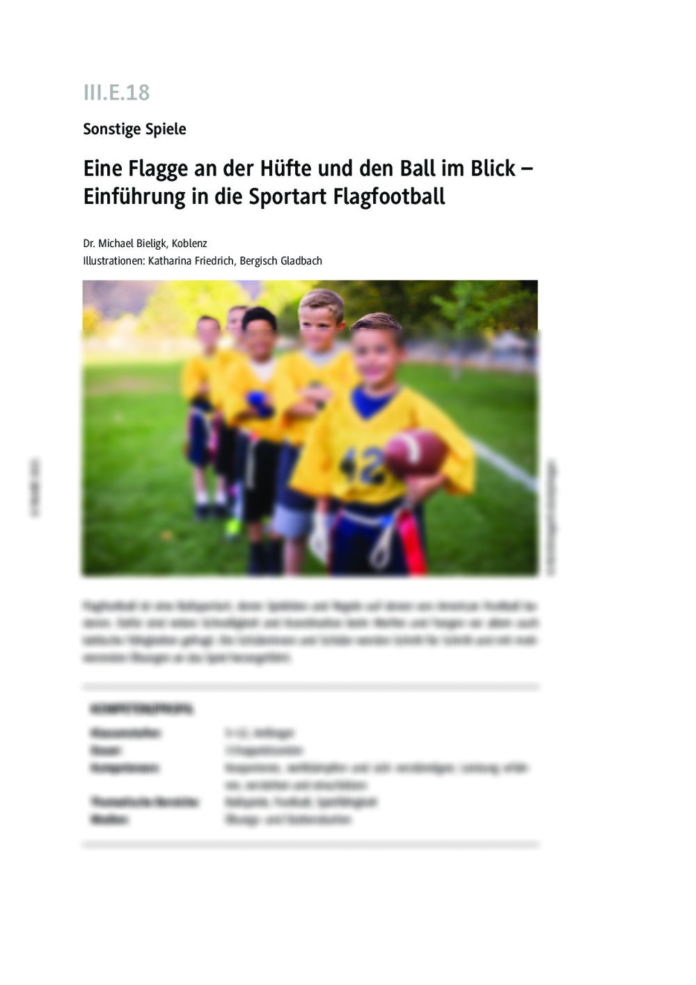 Einführung in die Sportart Flagfootball - Seite 1