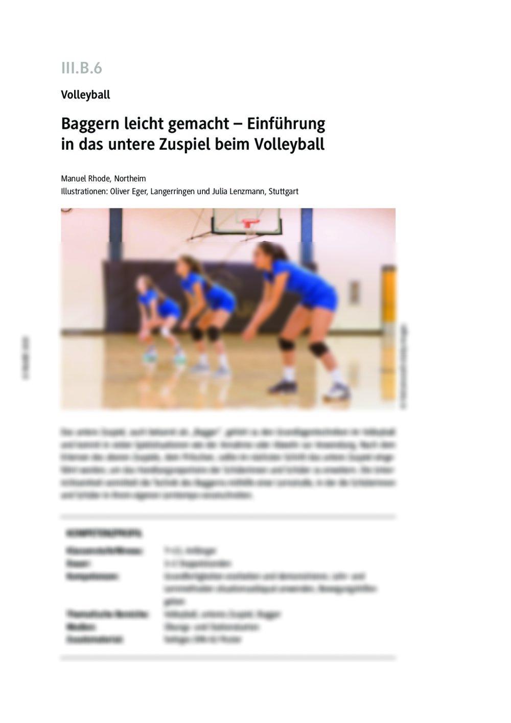 Einführung in das untere Zuspiel beim Volleyball - Seite 1