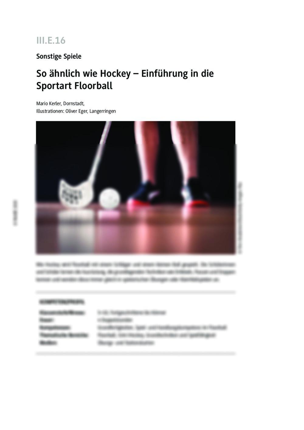 Einführung in die Sportart Floorball - Seite 1