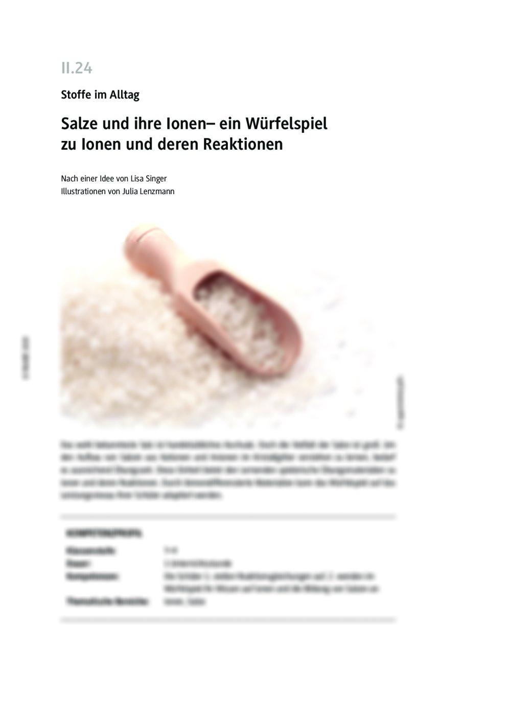 Salze und ihre Ionen - Seite 1