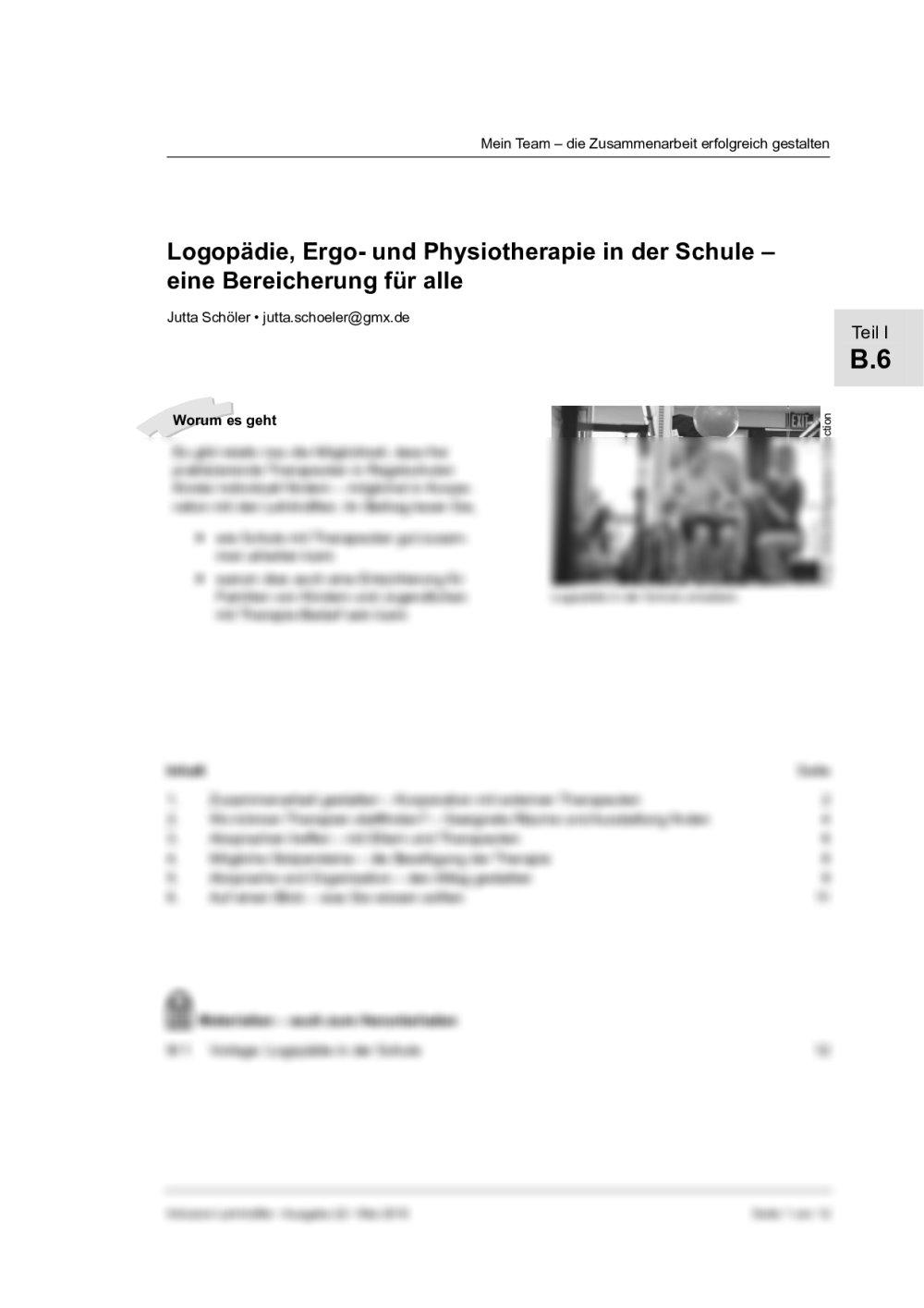 Logopädie, Ergo- und Physiotherapie in der Grundschule - Seite 1