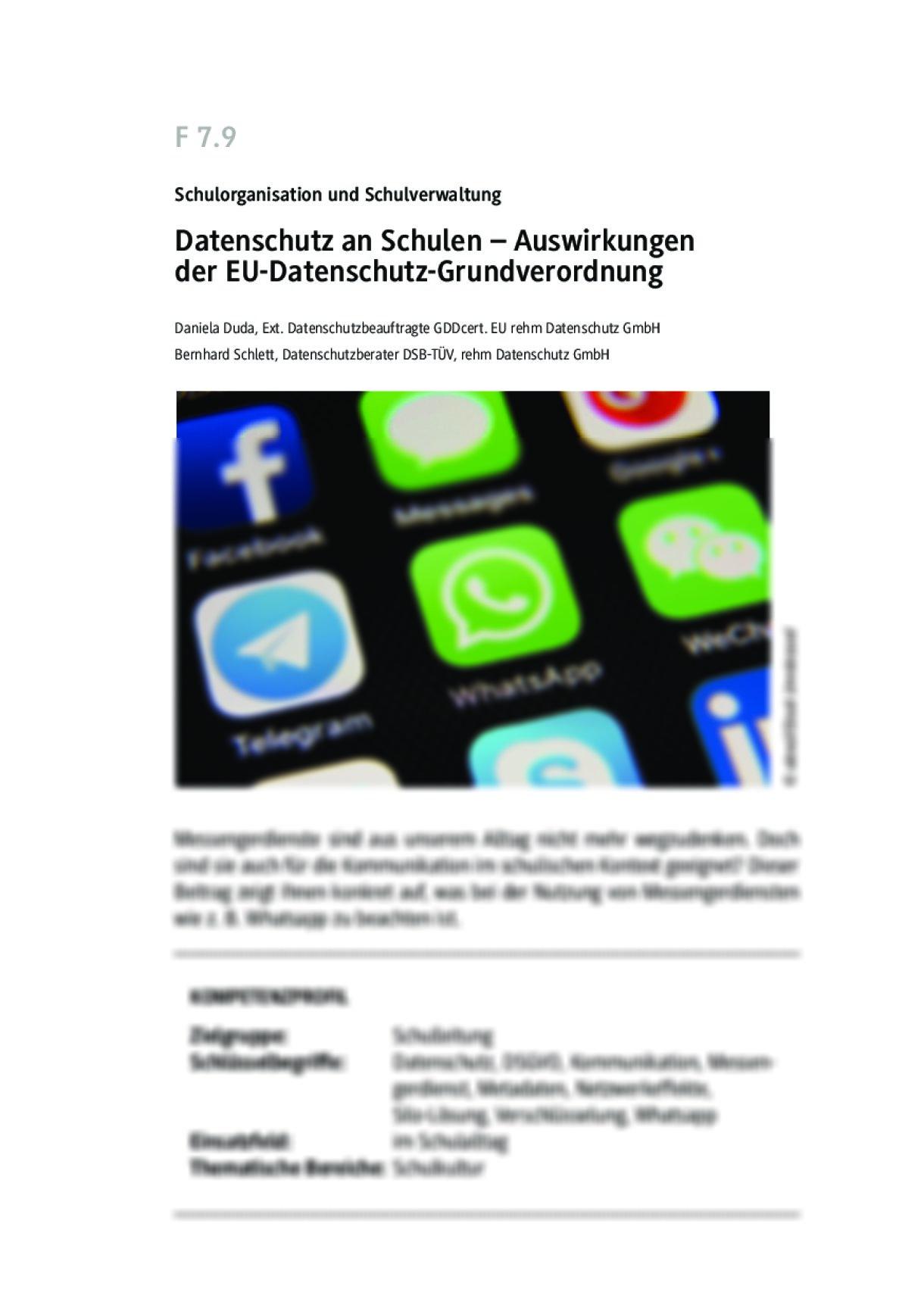 Datenschutz an Schulen – Messengerdienste an Schulen nutzen? - Seite 1