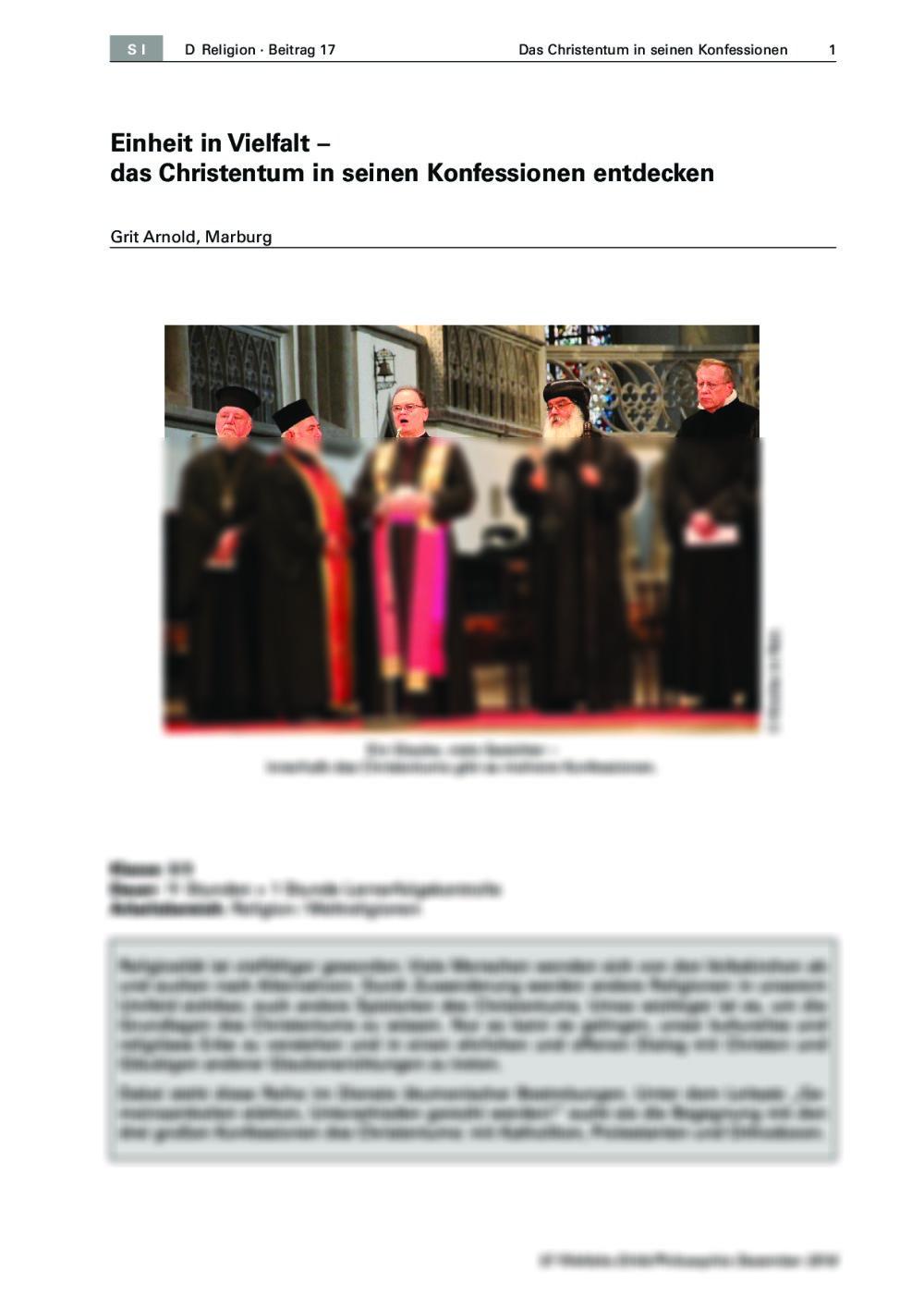 Christliche Konfessionen in den Blick nehmen - Seite 1