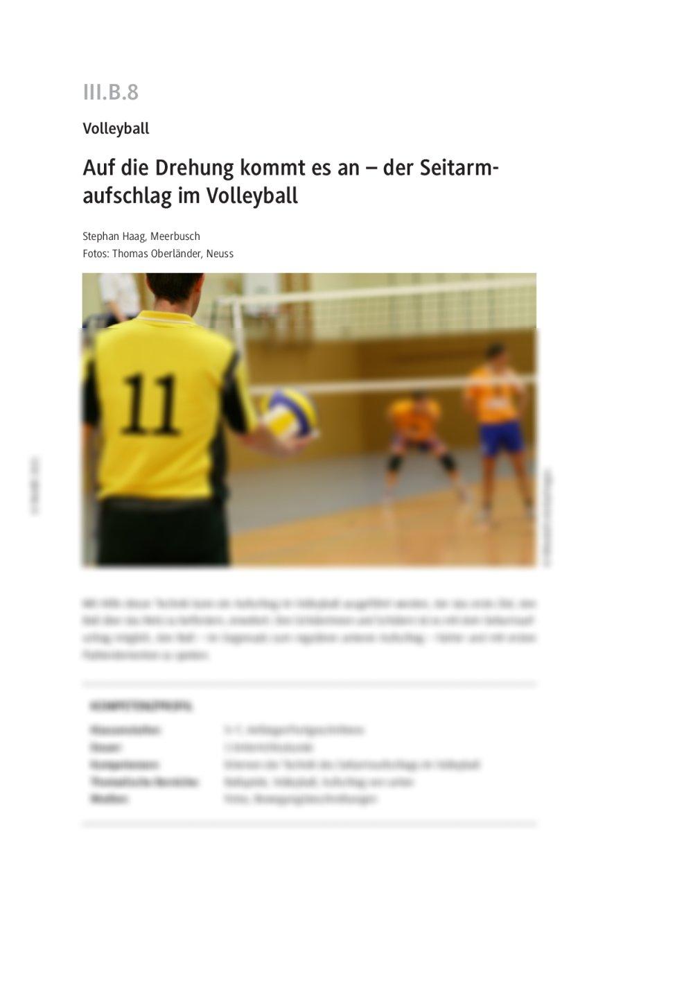 Der Seitarmaufschlag im Volleyball - Seite 1