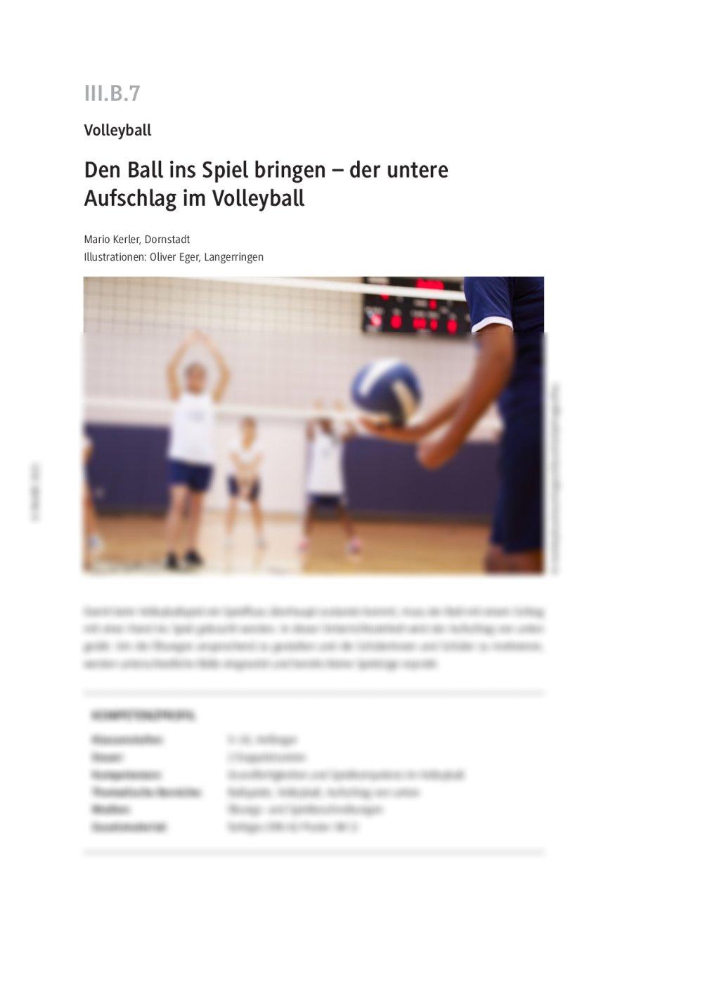 Der untere Aufschlag im Volleyball - Seite 1