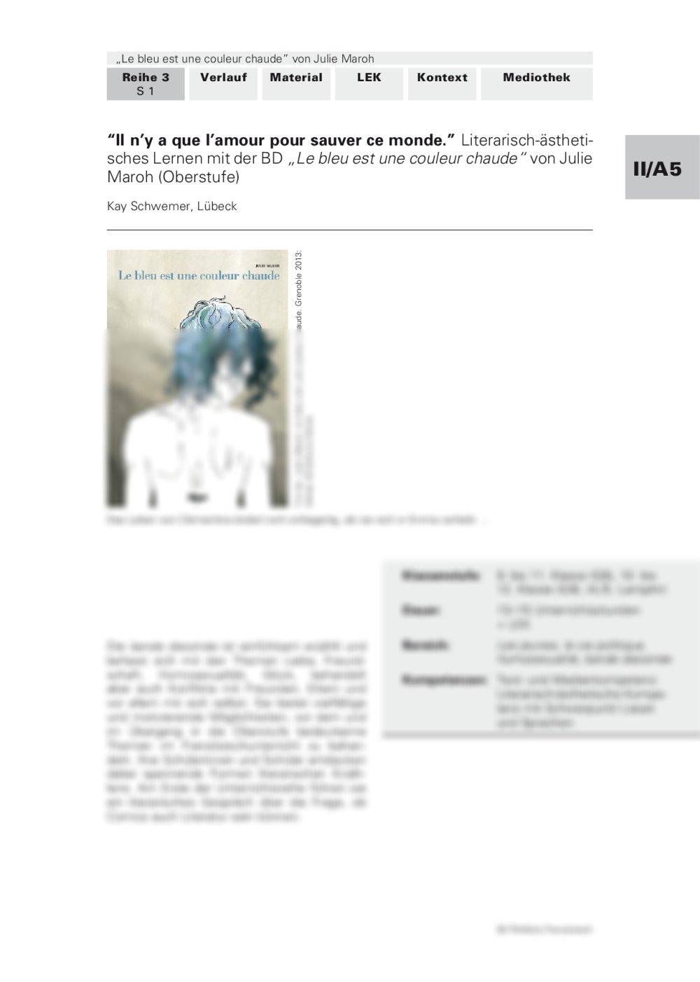 """Literarisch-ästhetisches Lernen mit """"Le bleu est une couleur chaude"""" von Julie Maroh - Seite 1"""