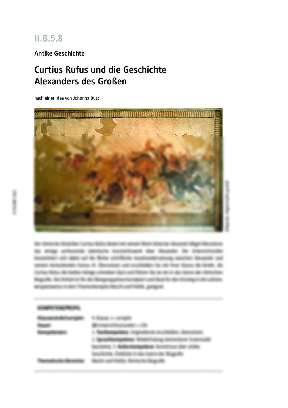 Curtius Rufus und die Geschichte Alexanders des Großen - Seite 1