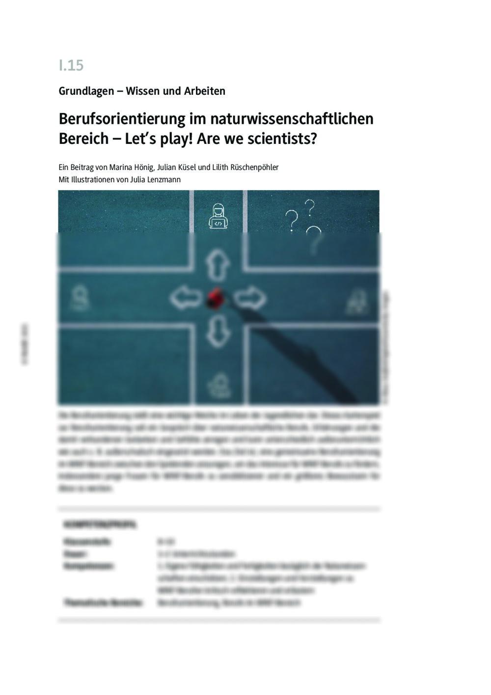 Berufsorientierung im naturwissenschaftlichen Bereich - Seite 1