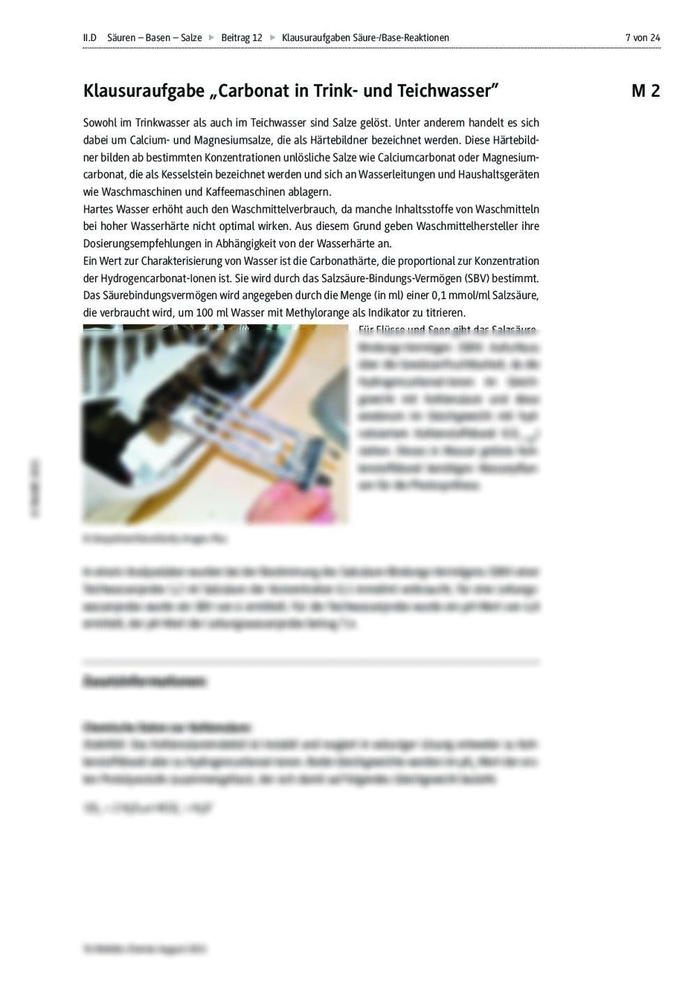 Klausuraufgaben Säure-/Base-Reaktionen | RAAbits Online
