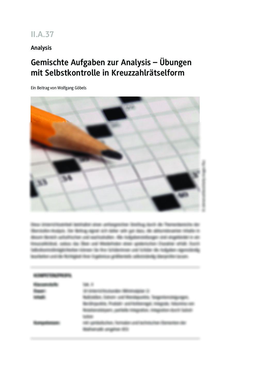 Gemischte Aufgaben zur Analysis - Seite 1