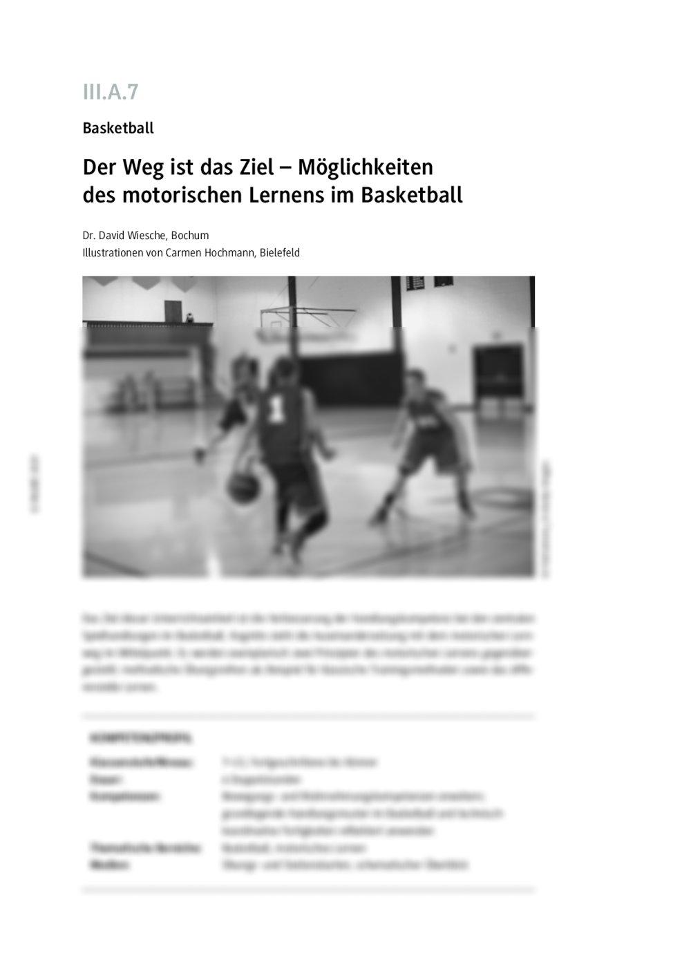 Motorisches Lernen im Basketball - Seite 1