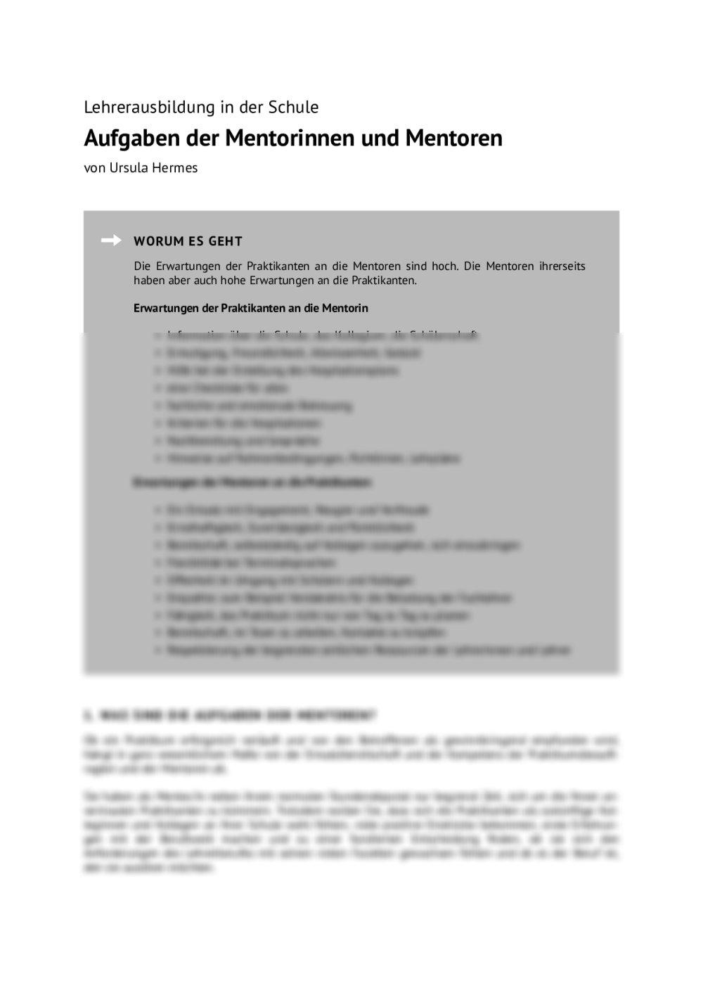 Aufgaben der Mentorinnen und Mentoren - Seite 1
