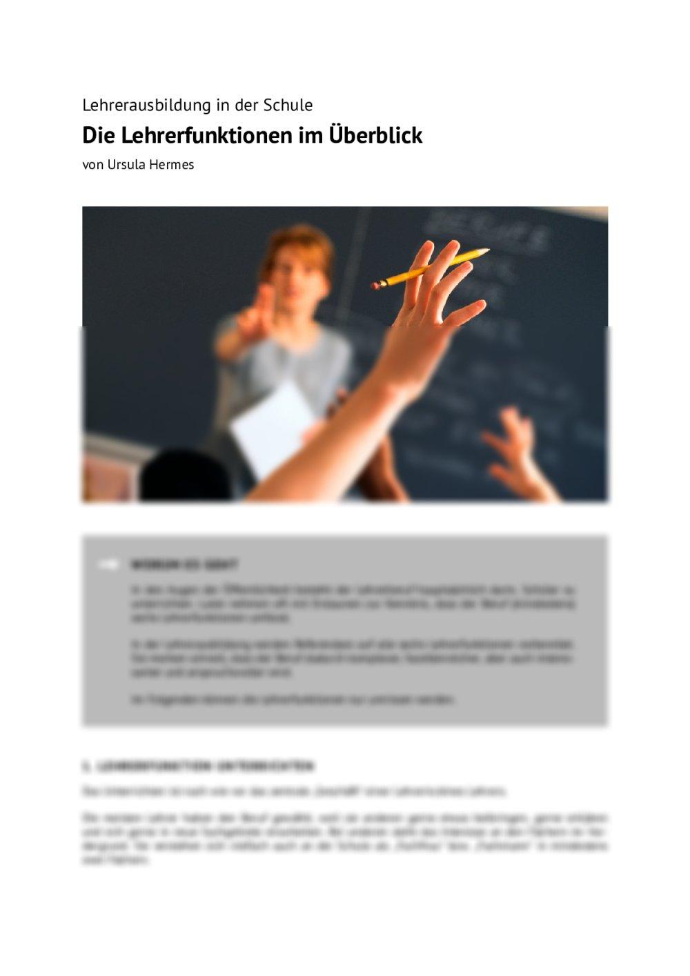 Die Lehrerfunktionen im Überblick - Seite 1