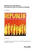 Die politische Kultur der Weimarer Republik
